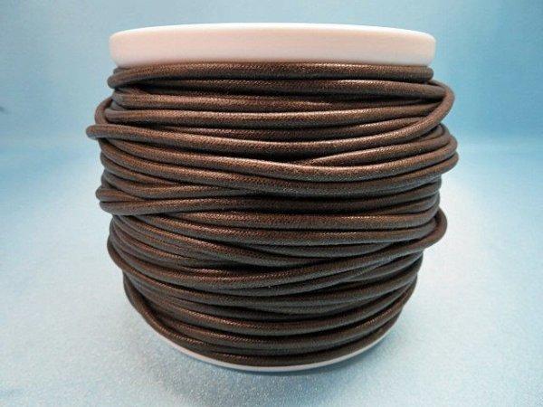 画像1: NYロービキ丸紐・3ミリ (7)濃茶 カット売り