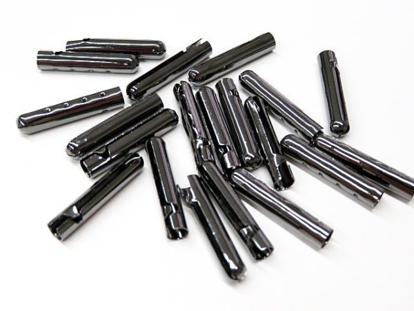 画像3: (100個)弾丸金属セル・細(ホソ)黒ニッケル色(100個入)